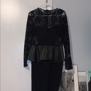 Zara black lace/leather dress